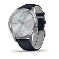 Fitness sat Garmin Vivomove Luxe Silver Navy leather (10085)